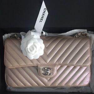 Chanel Iridescent Light-Rose Gold Medium Flap SHW